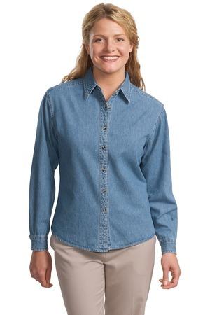 Port Authority® - Ladies Long Sleeve Denim Shirt. L600D