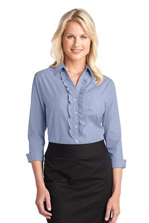 Port Authority® - Ladies Crosshatch Ruffle Easy Care Shirt. L644