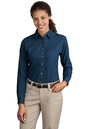 Port & Company® - Ladies Long Sleeve Value Denim Shirt. LSP10