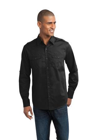 NEW Port Authority® - Stain-Resistant Roll Sleeve Twill Shirt. S649